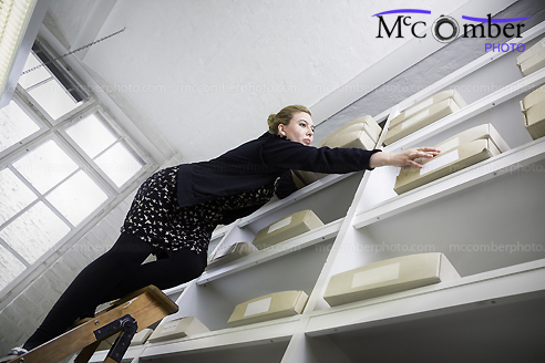 Stock Image: Unsafe ladder at work