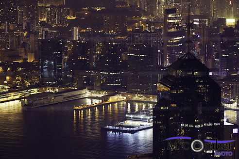 Stock Image - Victoria Harbor at night