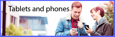Tablets and phone stock lifestyle images collection lightbox banner.